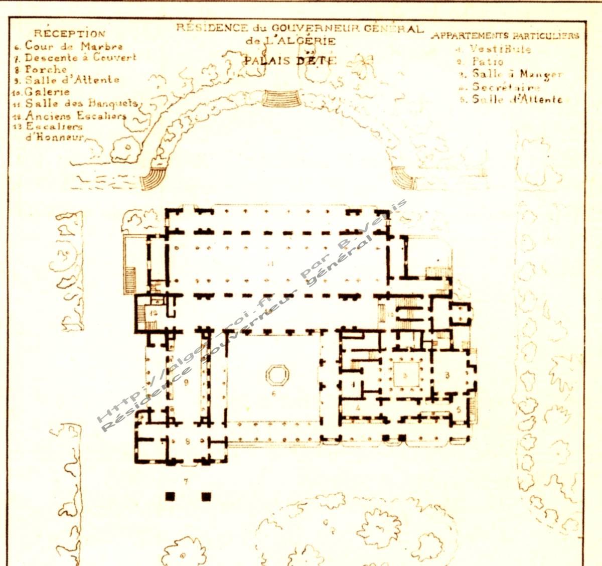 Palais d 39 t residence du gouverneur general de l 39 algerie for Plan tlemcen